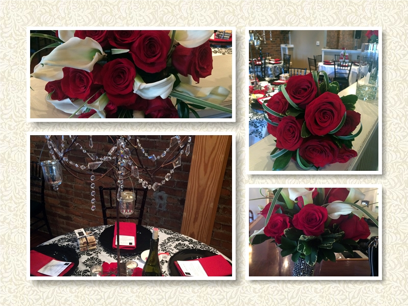 Red roses and White Calla Lillies Wedding Bouquets