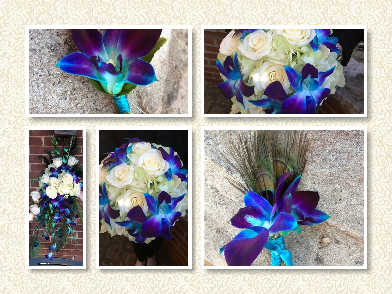 White Roses, Blue Orchids, and Purple Peacock Feather Wedding Bouquets